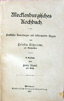 Frieda Ritzerow :: Mecklenburgisches Kochbuch (Antiquariat Rostock)
